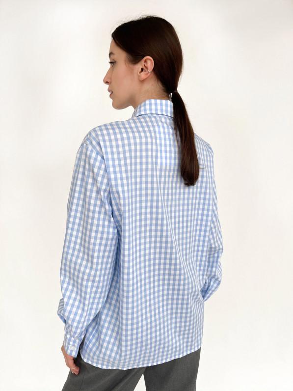 Рубашка «Базовая» клетка голубая D11441001