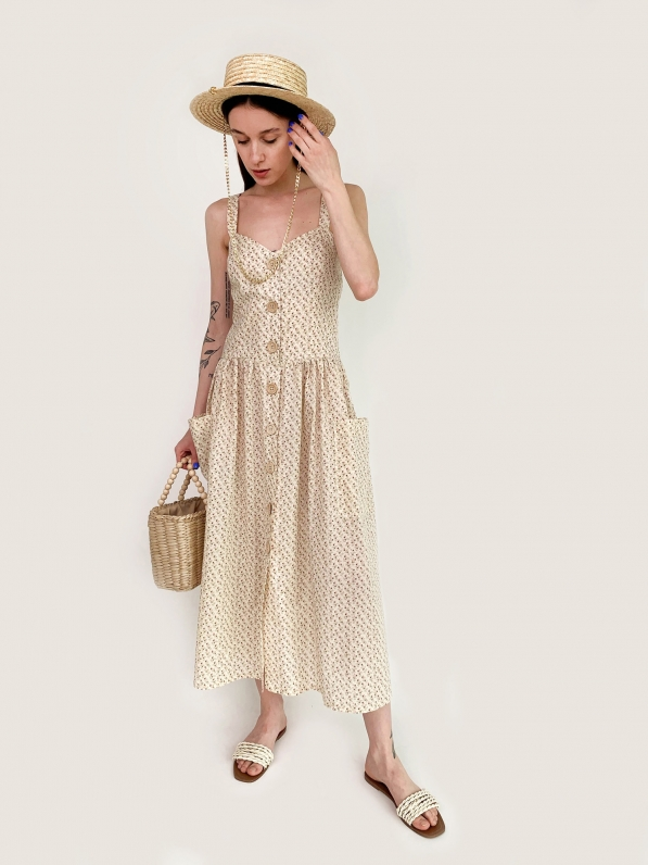 Платье - сарафан, «Цветочный принт», бежевое