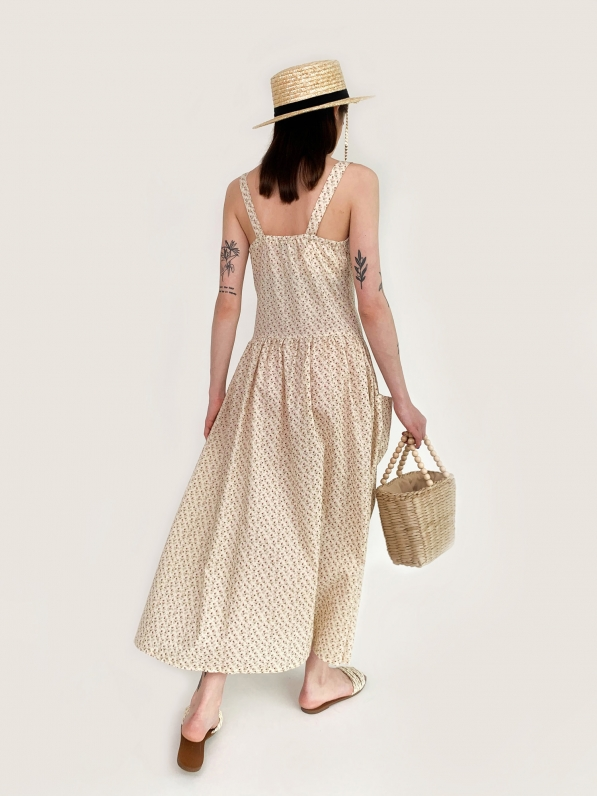 Платье - сарафан, «Цветочный принт», бежевое D10100041