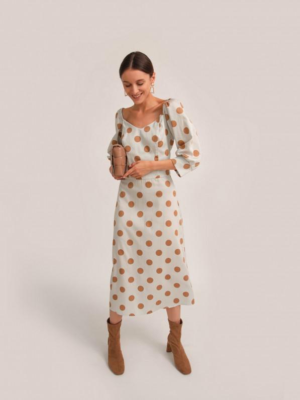 Платье миди, с объемными рукавами, в горох, молочное D10101029