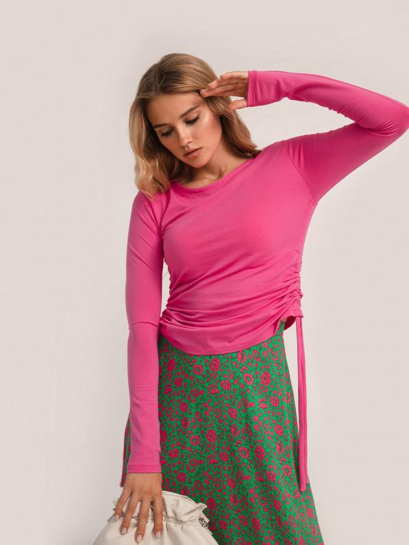 Кофта с завязками, розовая