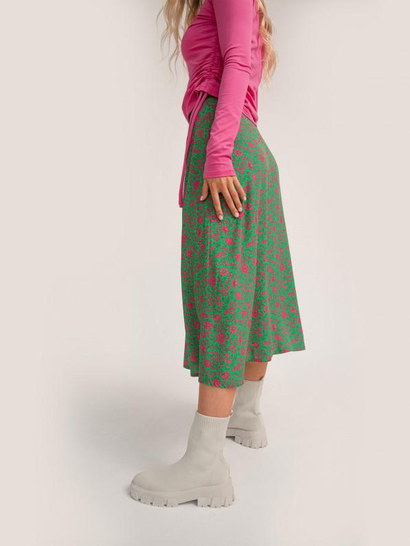 Юбка миди, малиновые цветы, зелёная D10450008