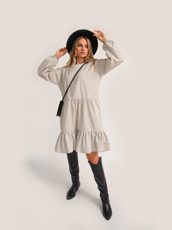 Платье «Две рюши», клетка, бежевое D10172081