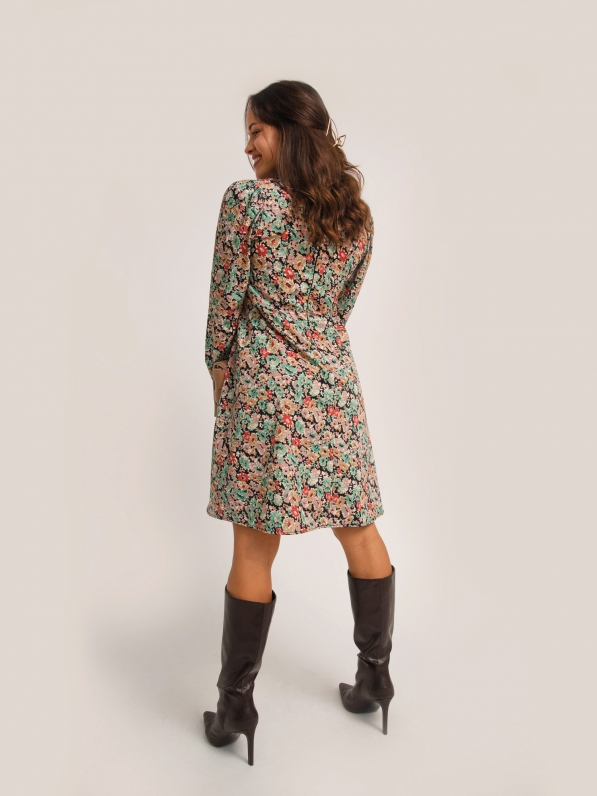 Платье-мини, с рельефами, цветочный принт, черное D10120097