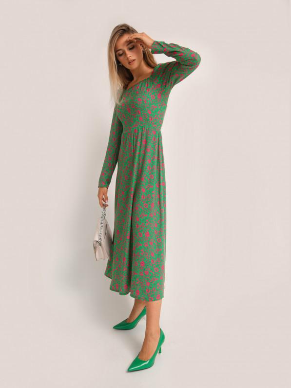 Платье миди, плечики, цветы малиновые D10150025