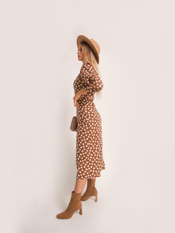 Платье миди, с объемными рукавами, в горох, коричневое D10180031