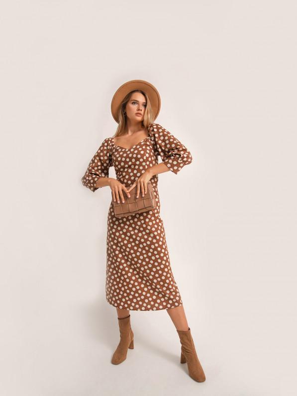 Платье миди, с объемными рукавами, в горох, коричневое