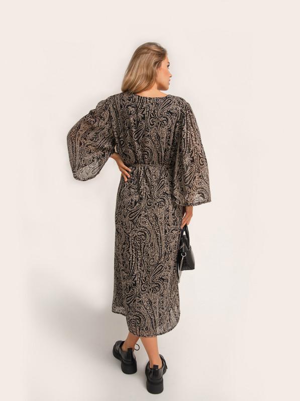 Платье миди, прямого покроя, с завязкой на поясе, узор D10120096