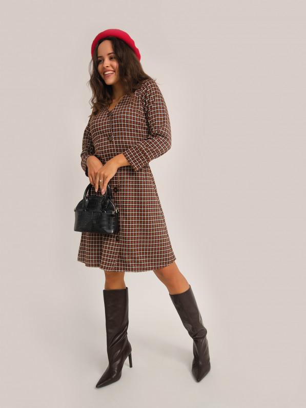 Платье «Клетка с пуговицами» коричневое D10180025