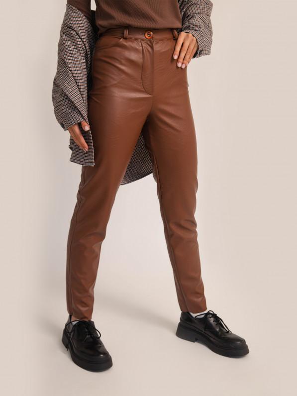 Штани класичні, з екошкіри, коричневі