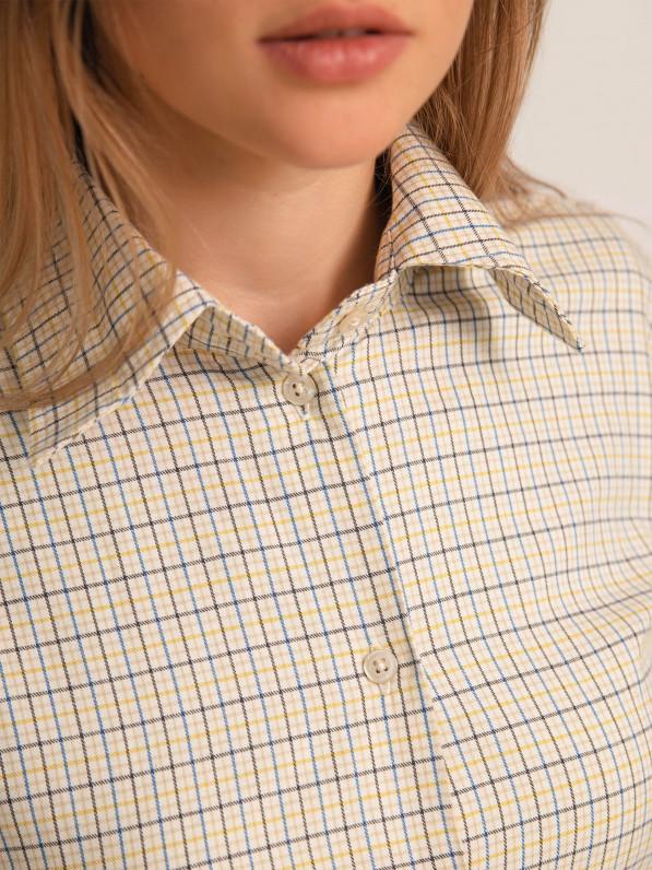 Рубашка прямого покроя, клетка бежево-синяя D11401012
