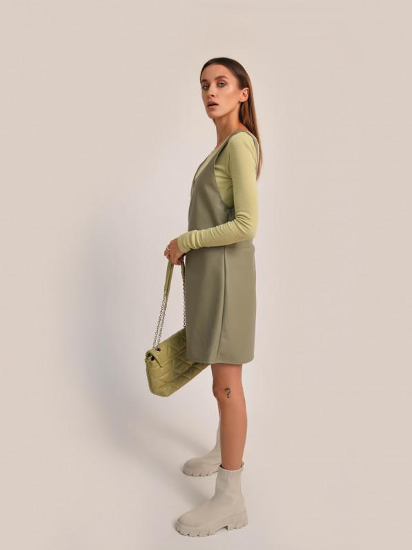 Сарафан из экокожи, оливковый D11798001