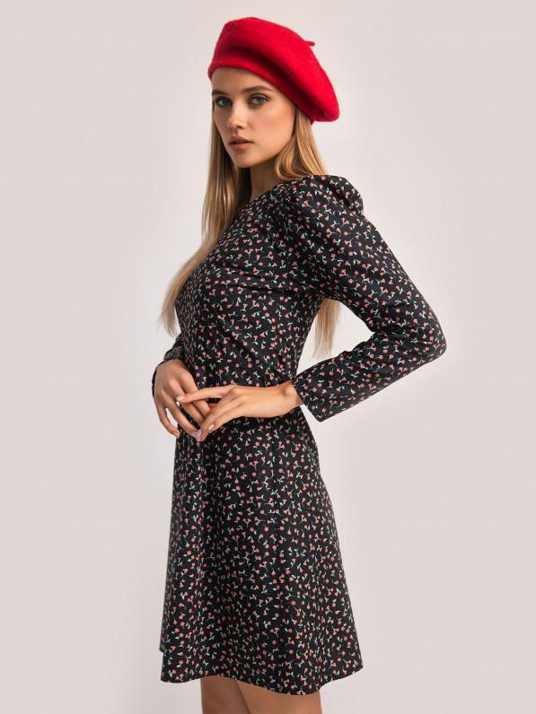 Платье-мини, с рельефами, цветы красные, черное D10120099