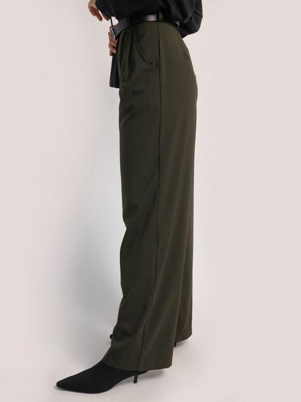 Брюки-палаццо, тёмно-зелёные D10398229