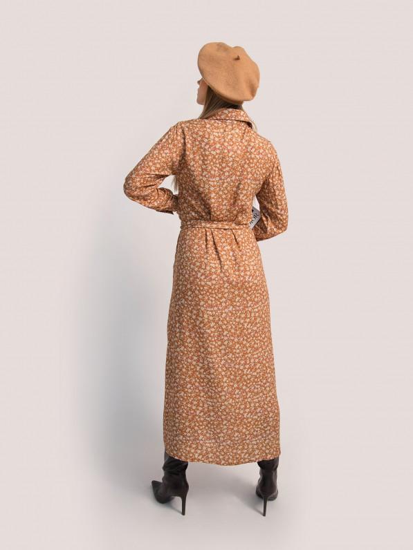 Платье «Цветы белые» миди коричневая D10180027