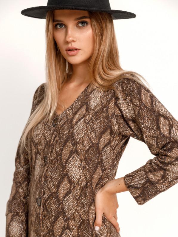 Платье «Змеиный принт» коричневое D10180026