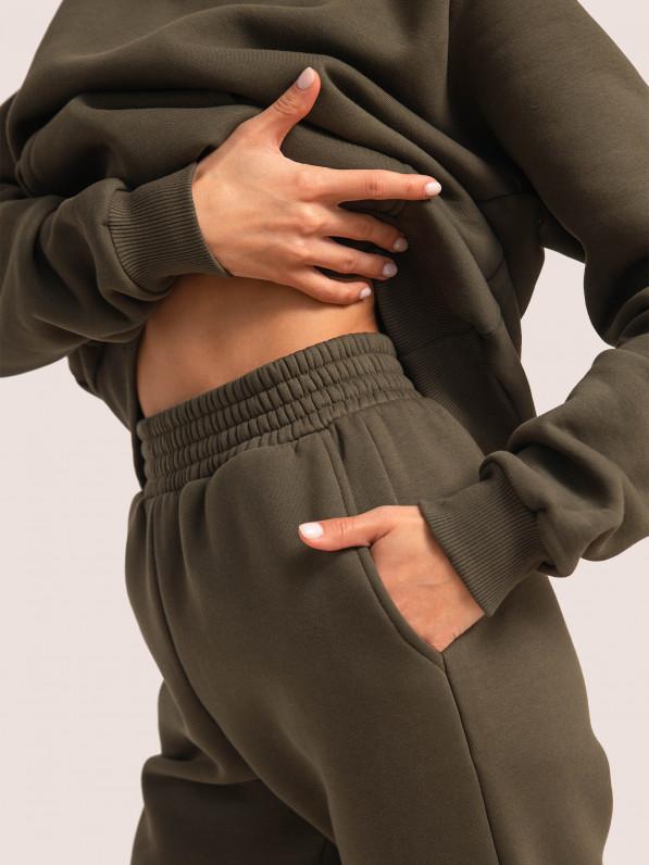Штаны-джогеры, с широким поясом, утеплённые, хаки D10351028