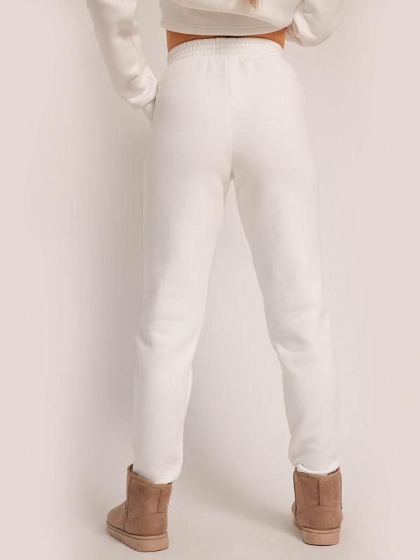 Штаны прямого кроя, с широким поясом, утеплённые, молочные D10301055