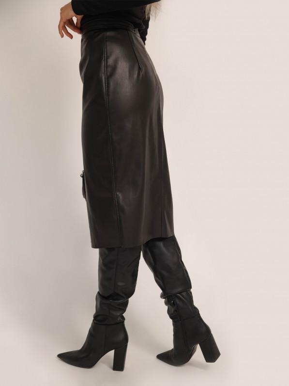 Юбка-футляр из экокожи, чёрная D10420012