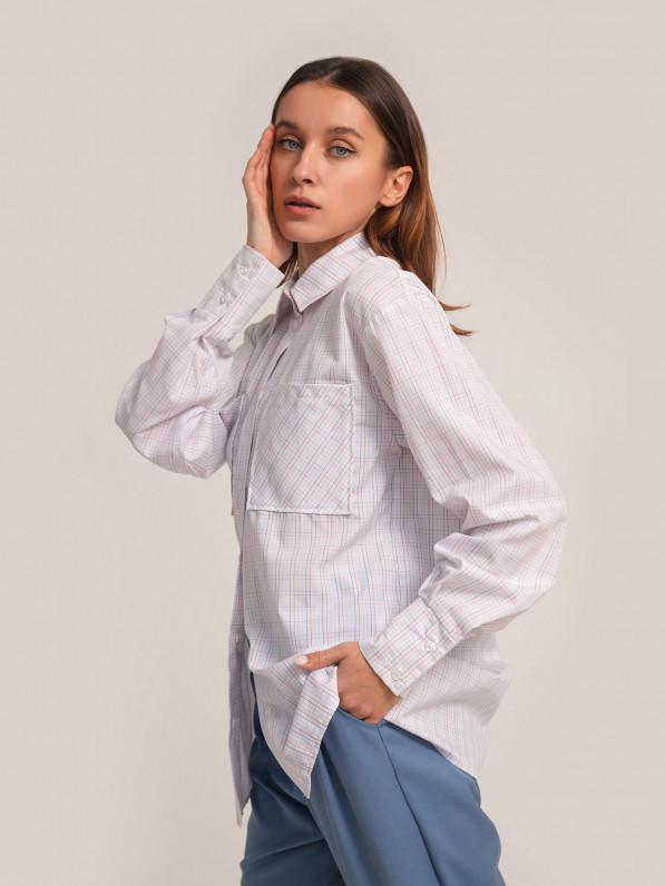 Рубашка «Базовая» клетка белая