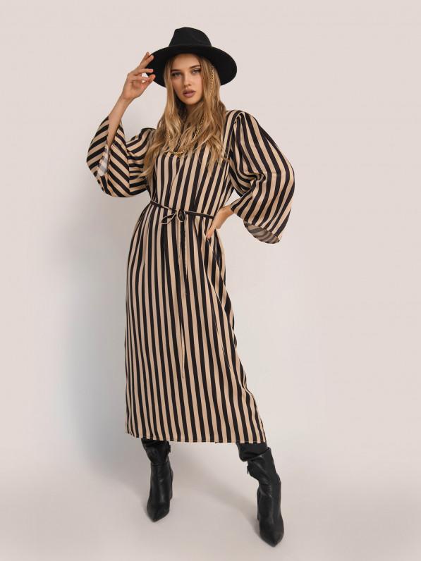 Платье-миди, с обьемними рукавами, в полоску, чёрное