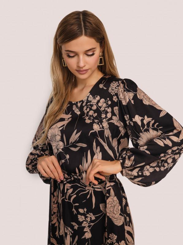 Платье-миди, с рюшей, цветы бежевые, чёрное